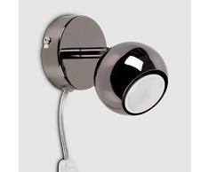 MiniSun – Faretto moderno, singolo e rotonda con una finitura lucida e cromata nera ed un cavo, una spina ed un interruttore – Lampada da parete/da soffitto