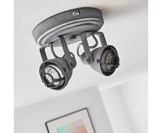 Vintage LED Spot spirale/lampada da soffitto, im Industrial Decapato, 2 X 4 W GU10 LED incl., 2 X 350 Lumen, 3000 K Bianco caldo, metallo, grigio cemento