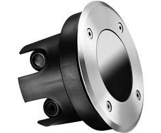 Faretto rotondo da incasso da pavimento con protezione IP67, in acciaio INOX e vetro, portata fino a 2000 kg, profondità di montaggio 70 mm, adatto solo per moduli a LED