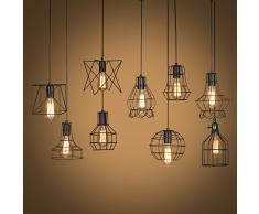 Vintage Industriale Edison Gabbia Di Metallo Paralume Da Soffitto Loft Bar Retro Lampada A Sospensione Nero