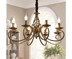 Ganeed Lampadari rustici, lampadario country francese a 8 luci a candela, lampada a sospensione in ferro vintage a sospensione per fattoria, isola cucina, sala da pranzo, camera da letto