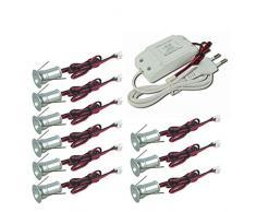 Mini faretto LED incasso a mini 9PCS 1 W dimmerabile con driver 85 - 277 V AC per armadio casa, ristorante, DIY illuminazione bianco caldo naturale bianco freddo, CE RoHS, Cool White, 120° Dim
