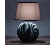 Set in due BRUBAKER Lampada da tavolo in ceramica anthracite, paralume anthracite - Altezza 38 cm