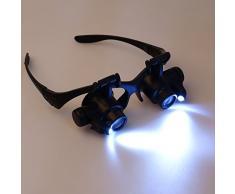 Eye/occhiali tipo LED Lente d'ingrandimento Magnifier Loupe + 4 pcs 10/15/20/25X lente + Installare Cinghia/Strap Per Riparazione Gioielli e orologio da polso e Campana /Repairing Jewelry and Watch Clock TE062