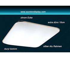 Plafoniera LED 6086, colore argento, con telecomando per colore luce/luminosità, regolabile, extra sottile 10 cm moderno 6086-39x39cm 15W warmweiß