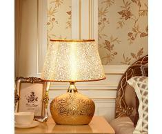 TMY Lampada da Tavolo in Ceramica a LED Regolabile Lampada da Tavolo in Oro Paralume Camera da Letto Lampada da Comodino Soggiorno Lampada da Tavolo Luce Notturna E27