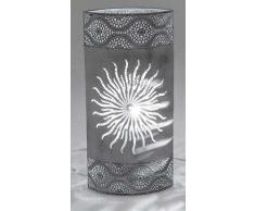 Lampada oval 36 cm anticato sole grigio