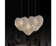 A forma di cuore, con cristalli, ideale per illuminazione sale da pranzo/-Lampada a sospensione, modello Modern Bar Cafe Creative-Lampada a sospensione, decorazione per soggiorno, camera da letto, Lampadario a incasso