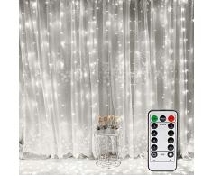 Vegena 300 LEDs Tenda luminosa, Tenda di Luci 3 x 3m Telecomando 8 Modalità di Illuminazione Impermeabile Stringa Luce Catena per Decorare Interni e Esterni Salotto Natale Matrimonio (Bianco)
