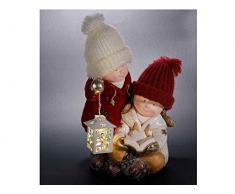 Ideapiu Coppia di Bambini in Ceramica con Lanterna e Luce LED