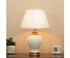 Lampada da tavolo in ceramica cava, lampada a lampada corpo lampada doppia, sorgente luminosa design, pulsante interruttore, decorazione salotto creativo lampada da letto camera da letto