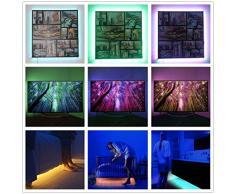 Salcar Striscia di luce di natale SALCAR 5m RGB con 300 LED (SMD 5050), 16 colori selezionabili, incl. 24 tasto del telecomando IR / e 12V 60W alimentazione