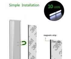 Luce Notturna Con Sensore di Movimento, Yokkao® Lampada di Emergenza con 10 LED Ricaricabile Portatile per Armadio Corridoio (Bianca Fredda)