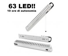 Luce/Torcia/Lampada demergenza ultraluminosa ricaricabile 63 LED