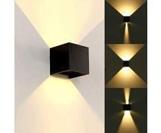 Nero 12 W LED lampada da parete in alluminio IP65 impermeabile fissaggio su e giù lampada spot bianco caldo 3000 K