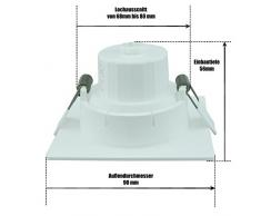 Lunga durata LED Faretto da incasso 8 W orientabile girevole dimmerabile impermeabile IP44 quadrato, ultrawarmweiss, Bianco caldo, bianco, Bianco freddo per bagno e cucina e soggiorno (lampada, lampada, faretto, Spot, illuminazione