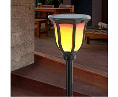 Solare Fiaccola Giardino Acropoli 2er-Set con Vera Flammeneffekt - Grande 1,5W Modulo - 96 Built-In Leds - ( Dxh ): 14 x 62cm - Torcia Luce Illuminazione Lampada Esotec 102495