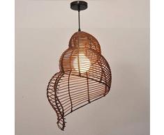 Lampadario di bambù Retrò Light Fixtures Vimini Lampadari Lampadario Dinging Room Lampada a soffitto Cascina luce del pendente Conch, vimini Rattan Shades Weave Lamp (colore : Caffè-35cm)