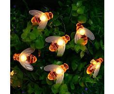 SUAVER Decorativo Catene luminose Solare Strisce LED,Luci stringa a forma di ape Impermeabile 30 LED Natalizi Luci per Giardino Patio Luci Decorazioni Luminose Solare (Bianco caldo)