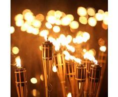 Relaxdays Set da 10 Candele per Giardino, Fiaccola ad Olio in bambù, con Stoppino, suggestive per Esterni,H: 90 cm,Legno