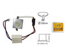 Vetrineinrete® Faretto led ad incasso 1 watt mini spot punto luce quadrato luce calda 3000 k driver 220v con bordo argento A41