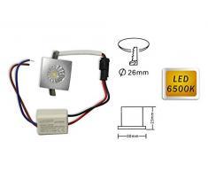 Vetrineinrete® Faretto led ad incasso 1 watt mini spot punto luce quadrato luce bianca fredda 6500 k driver 220v con bordo argento B49