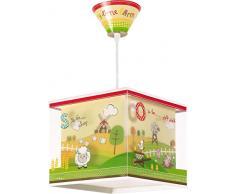 DALBER 64402 My Little Farm Lampada a sospensione, verde/rosso / giallo, led, plastica