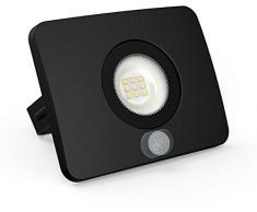 Faretto da esterno a LED super sottile, grado di impermeabilità IP65, con sensore di movimento, 10 W, 700 lm, 230 V, 36 mm, piatto, luce bianca fredda (3000 K)