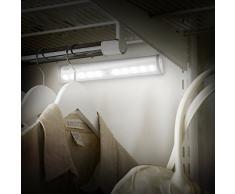 Aglaia Luce LED Sensore di Movimento, Lampada Armadio 10 LED a Batteria con Striscia Magnetica per Scale, Corridoio, Guardaroba. (Argento)