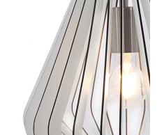 Briloner Leuchten Lampada a sospensione, paralume in legno bianco, lampada da soggiorno, retrò/vintage, luce a sospensione, E27, max. 40W, nichel opaco