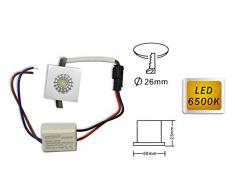 Vetrineinrete® Faretto led ad incasso 1 watt mini spot punto luce quadrato luce bianca fredda 6500 k driver 220v con bordo bianco E36