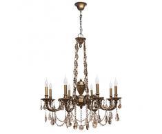 Lampada da soffitto in ottone classico tappeto candeliere cristallo 8-luci 8-bracci ø90cm E14 8 x 60 W 230 V