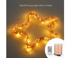 VicTsing Stringa Luci LED Dimmerabile Filo di Rame 39 ft 240 Individuali Luci Stellate LED Bianco Caldo (Ambra Champagne-oro) con CE, RoHS e Certificazione UL 6V DC1000mA Adattatore di Alimentazione per la Cerimonia Nuziale & Natale