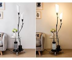 MMM- Lampada a sospensione E27 * 2 a base di lampada di ferro moderna del lampada di ferro di stile moderno con la lampada da terra del tavolino da caffè (39 * 171cm) ( Colore : Nero )