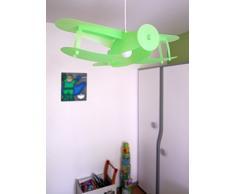 R&M Coudert - Lampada da soffitto per cameretta bambini, a forma di aereo colore anice