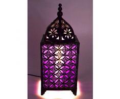 Lampada marocchina in ferro forgiato + Tessuto viola H45 cm stile orientale