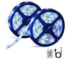 Striscia LED, OMERIL 6M (2x3m) LED Striscia RGB 5050 con 16 Colori e 4 Modalità, Retroilluminazione TV LED alimentata USB con Telecomando RF, Impermeabile Strisce LED per Decorazioni, Cucina, Natale