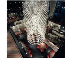 Gowe 9 lampadine LED D80 CM Staircase moderno lampadario di cristallo rotondo cerchi lampadario a goccia lampadario illuminazione UE10