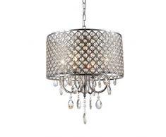 Lampadario moderno Lampadario in argento con gocce di cristallo Lampada a sospensione a LED a sospensione Sala da pranzo Finitura cromata a 4 luci (15.8 pollici)