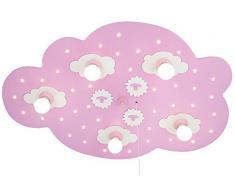 Elobra, Lampada da soffitto per bambini, a forma di nuvoletta, con funzione luce notturna, attacco E14, classe di efficienza energetica A
