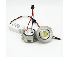Faretti da Incasso LED Mini Regolabili, COB 3W 6000K, Dimensioni Del foro 40-45mm