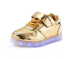 AFFINEST Led Con Luci Sneakers Bright Light USB 7 Colori Bambino Scarpe Lampeggiante bambini ragazzi ragazze regalo Natale Capodanno(golden,34)