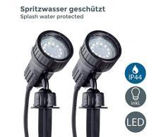 Set da 2 faretti LED per esterni, luci da giardino orientabili, illuminazione da giardino con picchetto o luci da parete, colore nero, include 2 lampadine da 3W 230 V GU10 IP44