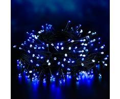 Elegear 40M 300LEDs Luci Esterno Batteria IP44 Impermeabile Luci Natale Batteria con 8 Modalità Illuminazione, Decorazione per Natale, Giardino, Patio, Albero di Natale - Blu Bianco