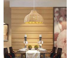 Wlnnes Fai da te tessuti a mano paralume nuovo ristorante cinese negozio pentola calda sala da tè del rattan lampada rattan lampadario E27 sud-est asiatico cappello di bambù rattan Lampadario vimini t