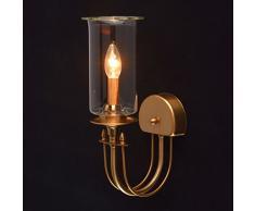 Lampada da parete notturna rustica elegante moderna di metallo colore miele ottone vetro trasparente plafoniera di vetro trasparente in stile minimalismo in soggiorno salotto o camera da letto 1*60W E14 - escl