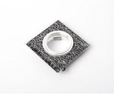 FUTUR PRINT® - Porta Faretto da incasso Quadrato in Vetro con sfondo nero e filature argento, fisso, GU10/5.3 con molle blocca faretto in acciaio.