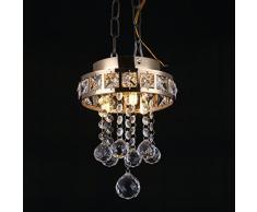 LEDMOMO Lampadario di cristallo finitura cromata luce di soffitto di cristallo 12w montaggio a filo lampadario di cristallo per soggiorno sala da pranzo camera da letto (corpo lampada cromata e luce calda)