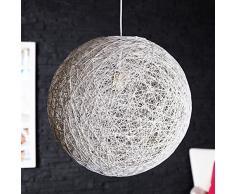 "'Design lampadario ""Planet lampada a sospensione in canapa bianco Ø 45 cm"
