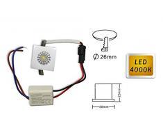 Vetrineinrete® Faretto led ad incasso 1 watt mini spot punto luce quadrato luce naturale 4000 k driver 220v con bordo bianco E20